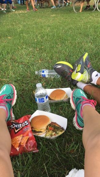 You run a 5K, you eat pizza, burgers, and Doritos. DUH.
